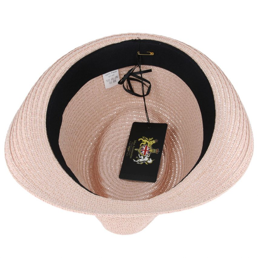UNISEX PAPER STRAW CRUSHABLE SUMMER HAT WITH BAND AND ADJUSTABLE SWEATBAND